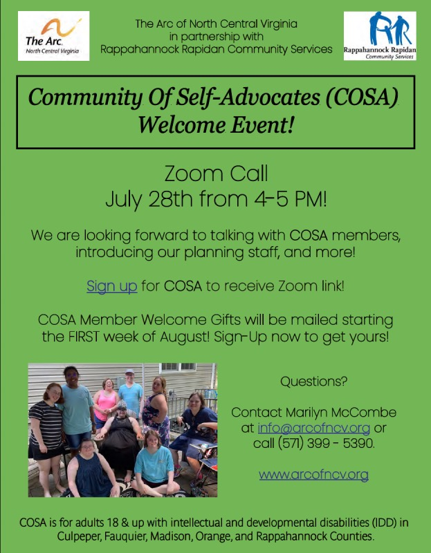 COSA Virtual Welcome Event Flyer, Arc of North Central Virginia