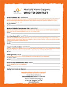 Medicaid Waiver Supports Who to Contact Flyer, The Arc of North Central Virginia